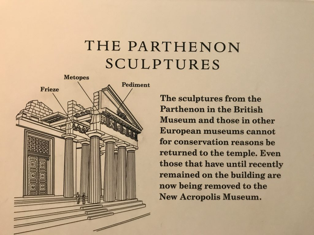 plaque describing the Parthenon sculptures at the British Museum