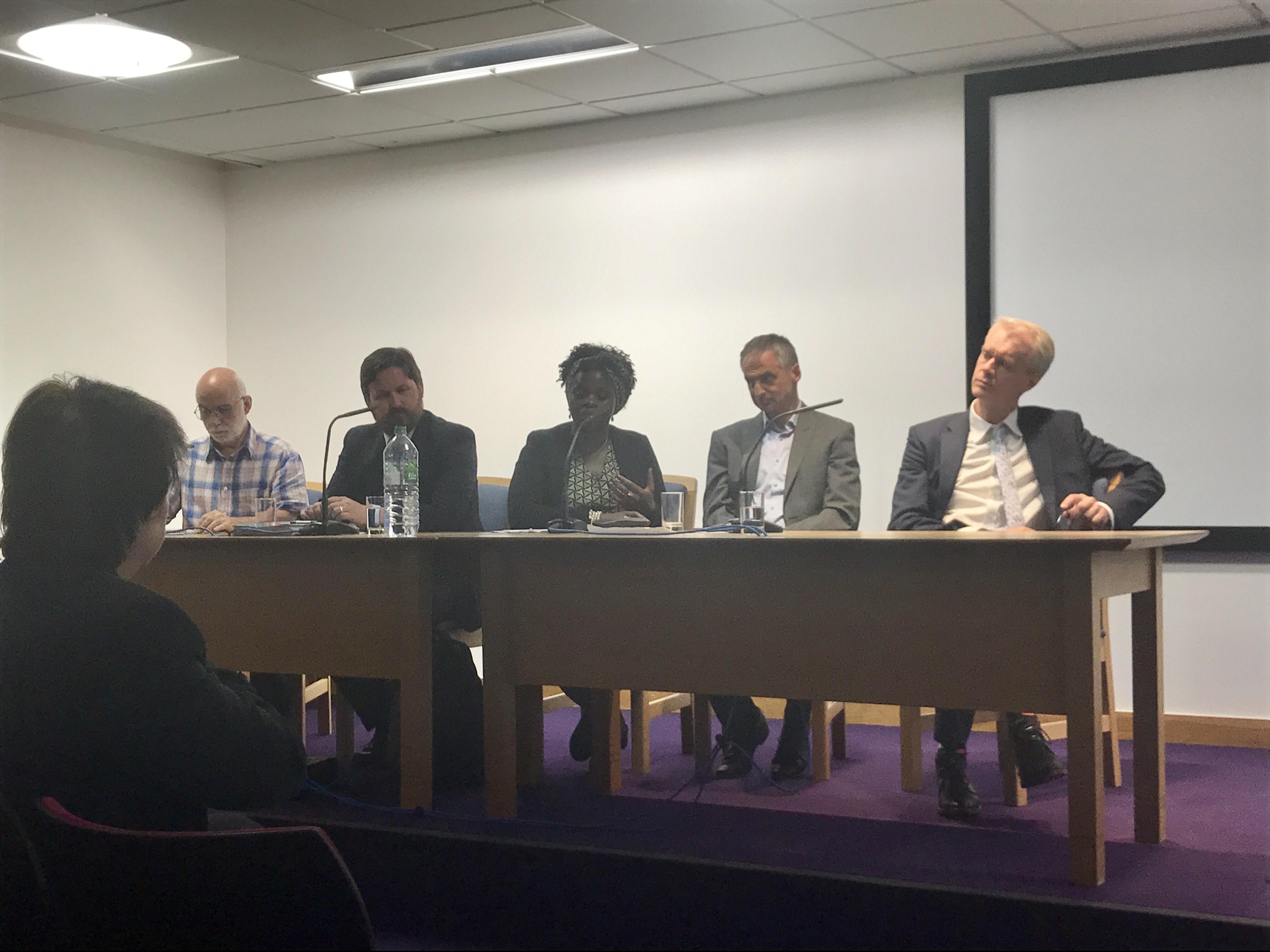 panel discussants at Refugee Week event (4 white males and one African female)